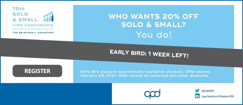 Solo and Small Early Bird