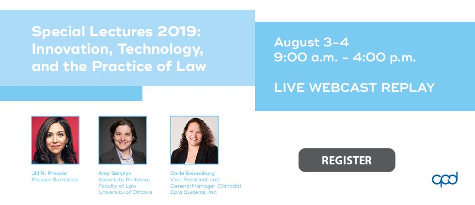 Replay: Special Lectures 2019: Innovation, Technology, and the Practice of Law (Aug 3-4)